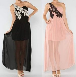 RICKETY RACK Black Floral Embroidered Maxi Dress
